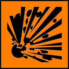 Science Laboratory Safety Signs: Orange Explosives - Safety Sign