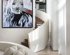 Kate MOSS «Moustache» Acrylic Painting on Canvas by Kathleen Artist.