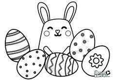 Dibujos para pintar huevos de pascua, conejos, y otros símbolos tradicionales de estas fiestas. Descargables pintas para niños en pascua