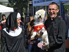 Diana and Joe dressed their West Highland Terrier, Henry, as the Pope while they dressed as a nun and a priest, happy that they won the Best Pair costume contest! | Photo: AP | Tallahassee Democrat | #fcnmhp #dogtoberfest2014