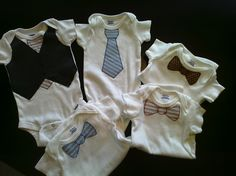 Onesies appliqued with neckties and/or vest for Liam Nelson