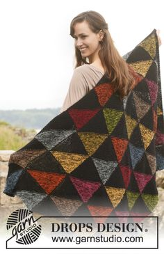 "Harlequin blanket with squares in 2 strands ""Alpaca"". ~ DROPS Design #knit #free_pattern"