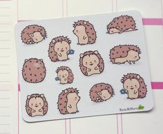 Cute Kawaii Hedgehog stickers  Stickers are kiss cut and printed on high quality matte paper.  Please note: the colours may vary depending on your