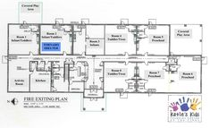 Facility Construction & Floorplans at Katie's Kids Learning Center Montessori Classroom Layout, Preschool Classroom Layout, Preschool Rooms, Daycare Rooms, Kids Daycare, Daycare Ideas, Learning Centers, Kids Learning, School Floor Plan