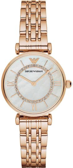 Emporio Armani AR1909 crystal-embellished rose-gold watch