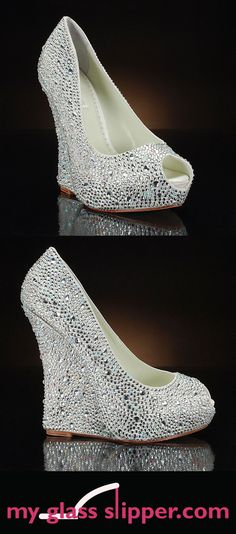 Toms Shoes OFF!> Comfortable wedge wedding shoes with serious sparkle! These sparkly wedding shoes from Benjamin Adams London are covered all over with dazzling Swarovski crystals Sparkly Wedding Shoes, Wedge Wedding Shoes, Bridal Shoes, Wedding Wedges, Shoes 2018, Prom Shoes, Homecoming Shoes, Dress Shoes, Cool Ideas