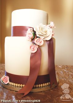 "Design W 0626 | Fondant Wedding Cake | Tall 8""+6"" 