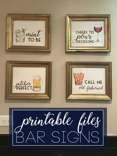 free printable bar signs with alcohol puns, ready to frame. Great gift idea for anyone who loves wine, mojitos, beer, or old fashions