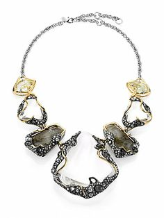 Alexis Bittar - Labradorite, White Quartz, Lucite & Crystal Vine Draped Pebble Bib Necklace - Saks.com