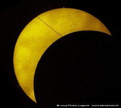 "ISS transit of the Sun during the March 20. 2015 partial solar eclipse. (Credit and copyright: Thierry Legault) Mona Evans, ""Solar Eclipses"" http://www.bellaonline.com/articles/art28395.asp"