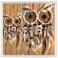 Big white owl dreamcatcher with gray and brown feathers on Etsy, $30.00