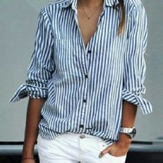 J. Crew boyfriend shirt Sz L, relaxed fit bottom down. Periwinkle and white stripes. No flaws. The stripes on mine are finer than the one on the model. J. Crew Tops Button Down Shirts