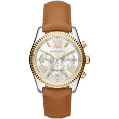 Michael Kors MK2420 Women's Lexington Chronograph Leather Strap Watch,... ($300) ❤ liked on Polyvore featuring jewelry, watches, accessories, brown leather strap watches, michael kors watches, silver watches, silver jewelry and water resistant watches