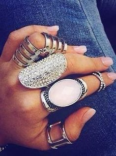 I usually don't like this ring on every finger business, but this is kinda cute.maybe take away the one on the ring finger. Boho Jewelry, Jewelry Box, Jewelry Accessories, Fashion Accessories, Fashion Jewelry, Chunky Jewelry, Delicate Jewelry, Bling Jewelry, Style Fashion