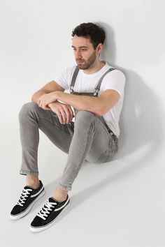 e87660f4a2 Men s Super Skinny Dungarees - Faded Grey. Men s Overalls in distressed  denim and repaired rips from Wash Clothing Company. Bib-overalls for men.