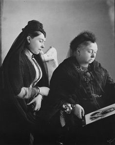 Queen Victoria with Victoria, Princess Royal when Empress Frederick, 1889   Royal Collection Trust