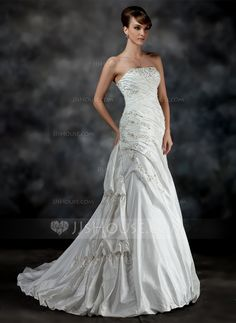 A-Line/Princess Strapless Court Train Taffeta Wedding Dress With Ruffle Beading (002017200) - JJsHouse