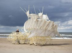 """Dutch artist Theo Jansen first started creating his signature """"Strandbeest"""" (""""Beach Animal"""") works in 1990. These huge objects, a combination of art and sc"""