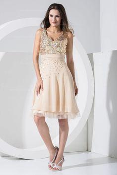 Shinning bodice v-neck knee-length chiffon beautiful dress