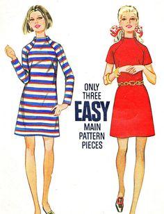 1960s Dress Pattern Butterick 5608 Mod Raglan by paneenjerez, $10.00