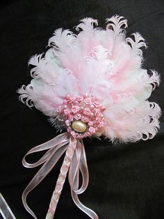 Pretty in Pink Bridal Feather Fan by AlexandrasAdornments on Etsy, $45.00