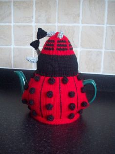 Knitted Tea Cosy Cozy Cosie Red Dalek Dr Who Shabby Chic. £13.99, via Etsy.