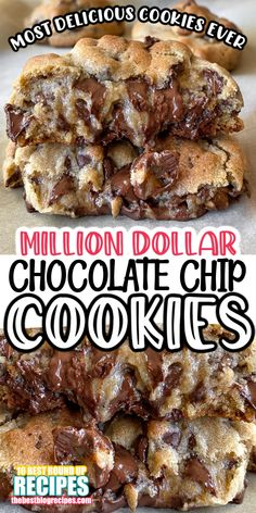 Perfectly chewy, chocolatey, ooey gooey, and hit the spot when you've got a sweet tooth. They're a must have on rainy days, yet, there's nothing better than an ice cold glass of milk with fresh homemade cookies in the summer. Recipe Link for these Million Dollar Chocolate Chip Cookies is number SIX on our list of BEST Million Dollar Recipes! Köstliche Desserts, Delicious Desserts, Yummy Food, Chocolate Chip Cookies, Almond Joy Cookies, Yummy Cookies, Homemade Cookies, Cake Mix Cookies, Baking Recipes