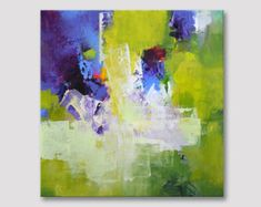 Original abstraktes Gemälde, Acryl modernes Kunstwerk, lila lila lilablauen Yellowgreen bunte Kunstwerk auf Keilrahmen kräftige Farben