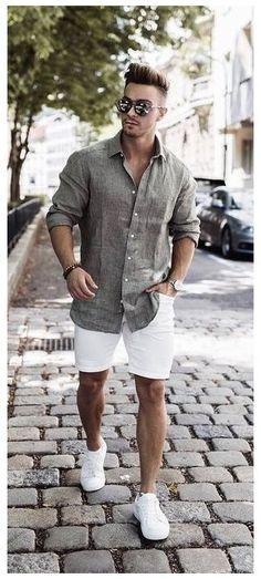 Street Casual Men, Men Street, Men Casual, Casual Shirt, Smart Casual Menswear Summer, Mens Smart Casual Fashion, Mens Casual Summer Style, Smart Casual Man, Summer Smart Casual