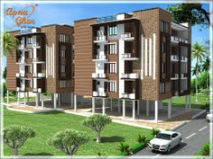 Modern Apartment Exterior Design.Click here :(http://www.apnaghar.co.in/pre-design-house-plan-ag-page-63.aspx)  to view free floor plans (naksha) and other specifications for this design. You may be asked to signup and login. Website: www.apnaghar.co.in, Toll-Free No.- 1800-102-9440, Email: support@apnaghar.co.in