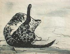 Josef Hegenbarth, Cat washing itself, 1952
