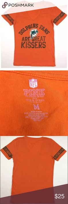VS Pink NFL Orange Top Dolphins Fans Graphic Tee ! Perfect for a Florida Dolphins fan, show off your favorite team with pride and a little bit of flirt! Pit to pit 18 inches. Length 25 inches. PINK Victoria's Secret Tops Tees - Short Sleeve