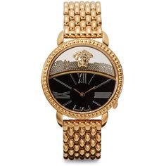 Versace Rose Gold-Finished Link Bracelet Watch ($1,165) ❤ liked on Polyvore featuring jewelry, watches, accessories, bracelets, relógio, gold, black face watches, versace watches, roman numeral watches and bezel bracelet
