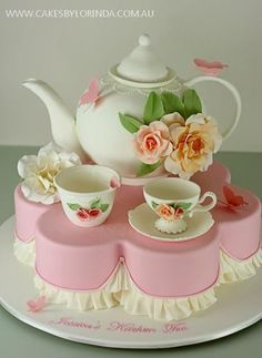Teapot Cake Tutorial Watch The Easy Video Instructions Gorgeous Cakes, Pretty Cakes, Cute Cakes, Amazing Cakes, Big Cakes, Fancy Cakes, Fondant Cakes, Cupcake Cakes, Fondant Bow