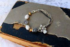 Vintage Rhinestone, Gemstone and Pearl Bracelet~