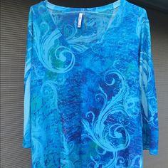 Kiara..lightweight sweater, only worn twice Poly, rayon and a little spandex, 3/4 sleeved . Beautiful Aqua colors Kiara Tops Tunics