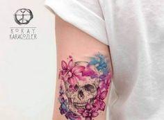 Watercolor skull tattoos by Britta Christiansen