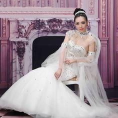 Designer White Swarovski Crystal Mermaid Wedding Bridal Dresses Gowns SKU-117120