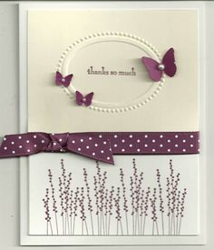 beautiful card---StampnUp's rich razzleberry ribbon is the perfect touch