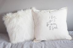I love you to the moon and back pillow with love declaration. Unique handprinted gift for Valentines, by My home and Yours Office Gifts For Her, Gifts For Mum, Grandma Gifts, Wedding Shower Gifts, Baby Shower Gifts, Original Design, Personalized Pillow Cases, Pillow Quotes, Grandparent Gifts