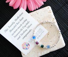 Family Birthstone Bracelet   A Glitter of Hope Handmade Jewellery, Birthstones, Glitter, Sterling Silver, Crystals, Bracelets, Jewelry, Bangles, Jewellery Making