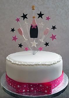 CHAMPAGNE BOTTLE CAKE TOPPER WITH 'BUBBLES' & AGE 21st ...