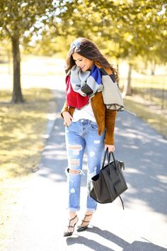 Ripped Jeans & A Blanket Scarf..