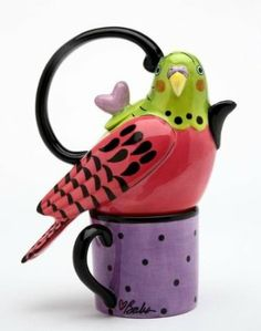 6.63 inch Pink And Green Parakeet Tea For One Teapot And Teacup Set : Amazon.com : Home & Kitchen