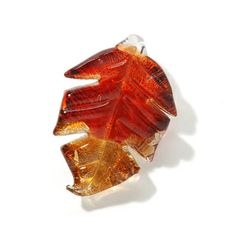 Glass Pendant-Leaf-Brown/Amber