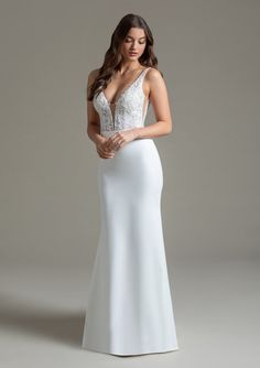 Style 72006 Bristol Ti Adora by Allison Webb bridal gown - Ivory lace and crepe sheath gown. Sheer deep v-neck beaded lace bodice and deep v-back.In stores early Wedding Dress Pictures, Wedding Dresses, Wedding Outfits, Dress Out, Lace Bodice, Beaded Lace, Bridal Collection, Bridal Gowns, Formal Dresses