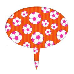 Pink soccer ball orange stripes cake toppers