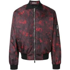 Dior Homme abstract print bomber jacket (€1.840) ❤ liked on Polyvore featuring men's fashion, men's clothing, men's outerwear, men's jackets, red and mens red jacket