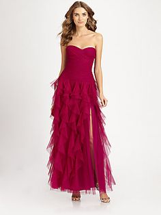 Alex! Not the scarlet red, but very, very close! ML Monique Lhuillier Ruffled Gown