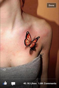 Butterfly 3D tattoo - love this tattoo style